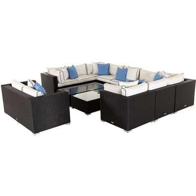 Rattan Garden Corner Sofa Set in Black & White - Geneva 12 Piece - Rattan Direct