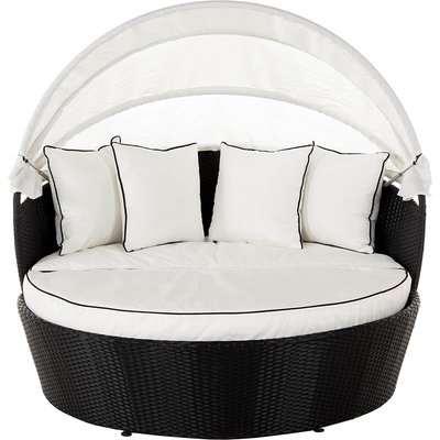 Rattan Garden Day Bed in Black & White - Venice - Rattan Direct