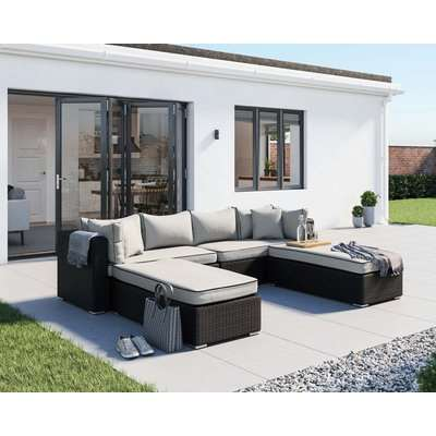 Rattan Garden Day Bed Sofa Set in Black & White - Monaco - Rattan Direct