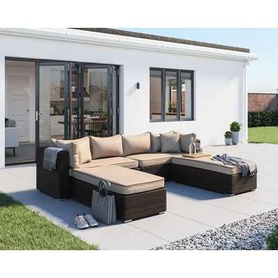 Rattan Garden Day Bed Sofa Set in Brown - Monaco - Rattan Direct
