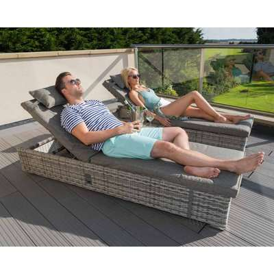 Rattan Garden Reclining Sun Lounger Set in Grey - Miami - Rattan Direct