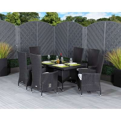 Small Rectangular Rattan Garden Dining Table Set With 6 Chairs in Brown - Cambridge - Rattan Direct