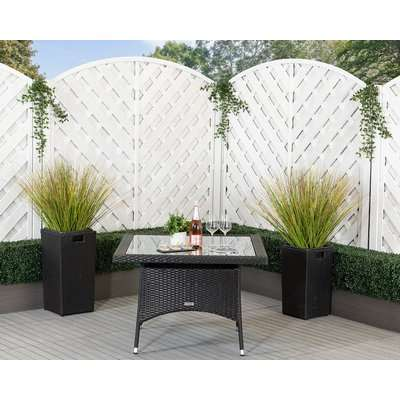 Rattan Garden Square Dining Table in Black - With Glass Top - Rattan Direct