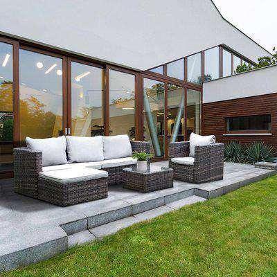 5-Seater Garden Furniture Rattan Modular Corner Sofa Set