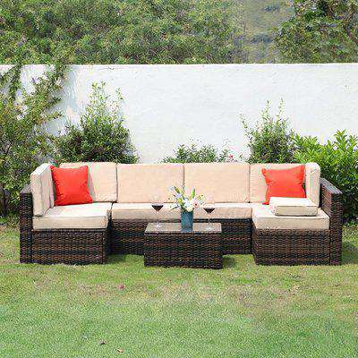 6 Seater Garden Furniture Set For Lawn Backyard Poolside