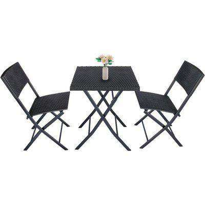 3 Pieces Rattan Patio Set of Foldable Patio Table and Chairs Black