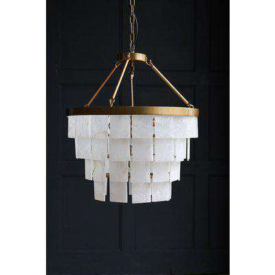 White & Gold Alabaster Chandelier Light