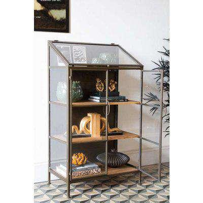 Antique Brass Glass Display Cabinet
