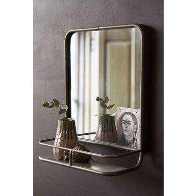 Antique Silver Almost Square Bathroom Mirror With Shelf