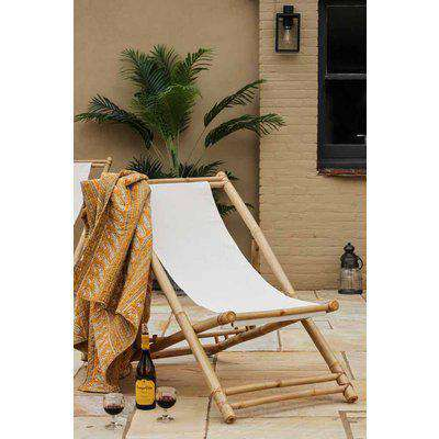 Bamboo Deck Chair With Linen Seat