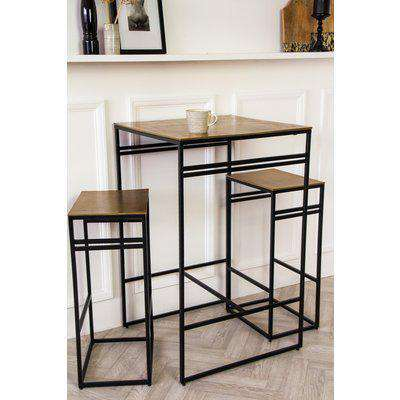 Black & Gold Bar Set With Bar Table & Two Bar Stools