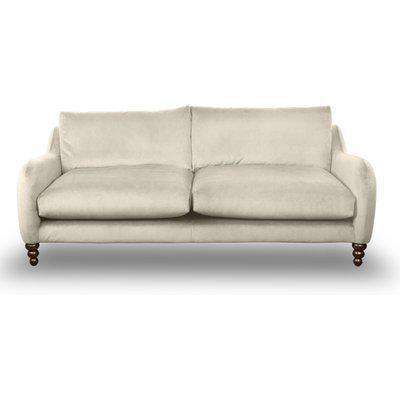 Beautiful Large 3-Seater Sofa In Natural Taupe Velvet