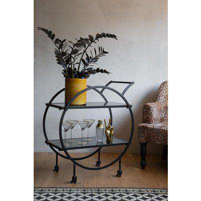 Contemporary Round Black & Smoked Glass Drinks Trolley