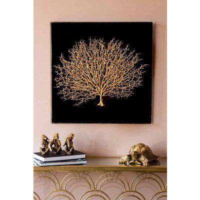 Gold Coral Boxed Wall Art