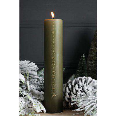 Count Down To Christmas Olive Pillar Candle
