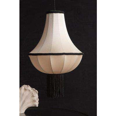 Cream & Black Lantern Ceiling Light Shade With Tassels