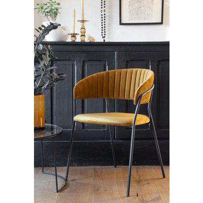 Curved Back Velvet Dining Chair In Golden Ochre