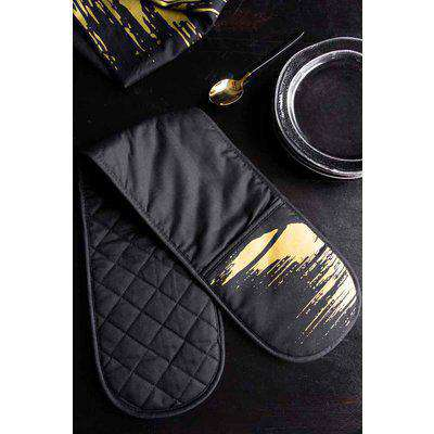 Black Double Oven Gloves With Gold Flash