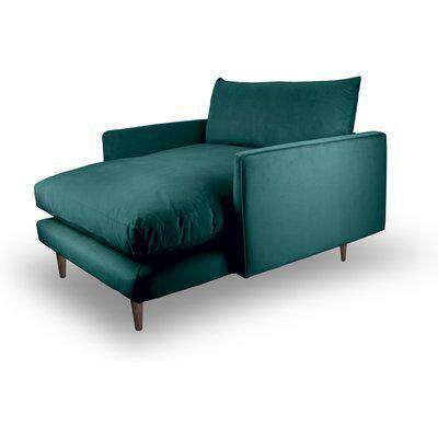 Fabulous Snuggler Chaise In Kingfisher Teal Velvet