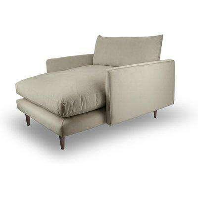 Fabulous Snuggler Chaise In Natural Taupe Velvet