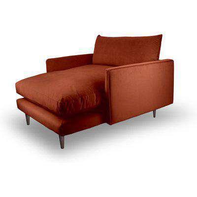 Fabulous Snuggler Chaise In Umber Rust Velvet