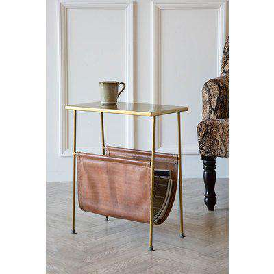 Rockett St George Gatsby Side Table with Leather Magazine Holder