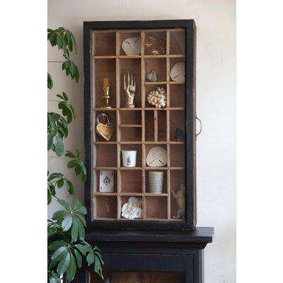 Glass & Antique Wooden Sliding Wall Display Cabinet