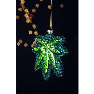 Green Glittered Leaf Christmas Tree Decoration