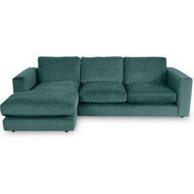 Gorgeous Chaise 3-Seater Sofa In Aqua Velvet - Left Handed