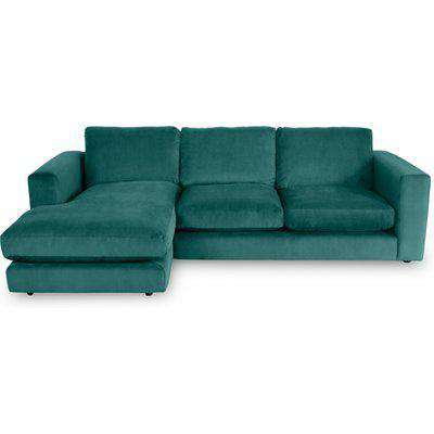 Gorgeous Chaise 3-Seater Sofa In Kingfisher Teal Velvet - Right Handed