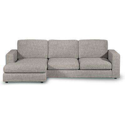 Gorgeous Chaise 3-Seater Sofa In Natural Oatmeal Boucle Fabric - Left Handed