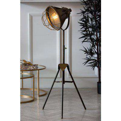 Industrial-Style Battery Powered Tripod Floor Lamp