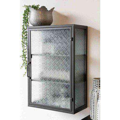 Industrial Style Metal Bathroom Cabinet With Patterned Glass Door