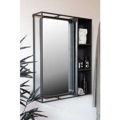 Industrial Style Metal Bathroom Mirror With Side Shelving Unit