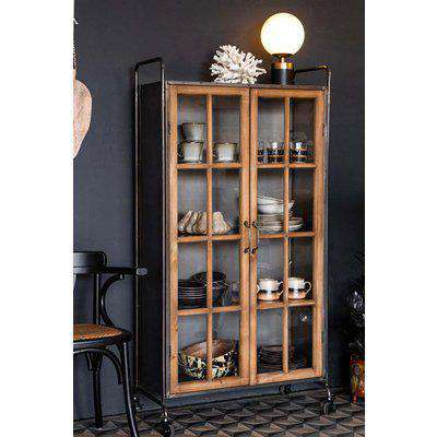 Industrial Style Wooden Display Cabinet On Wheels