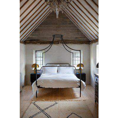 King Size Four Poster Iron Canopy Bed In Black