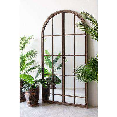 Large Antique Metal Window Mirror With Opening Doors