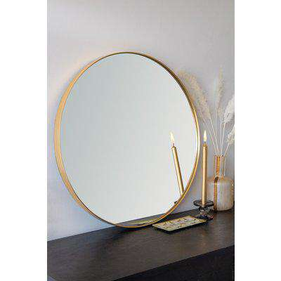 Large Round Gold Framed Mirror