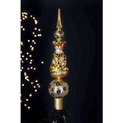 Gold Leopard Christmas Tree Topper