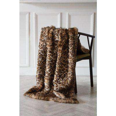 Light Faux Fur Leopard Print Throw
