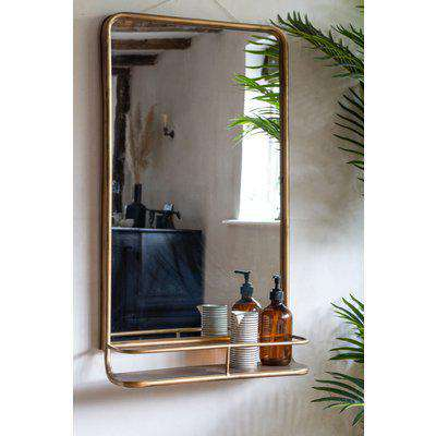Light Gold Tall Bathroom Mirror With Shelf