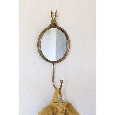 Little Round Mirror With Peeping Rabbit & Coat Hook