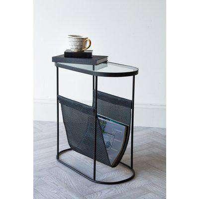 Black Lozenge Shaped Glass Side Table With Magazine Rack