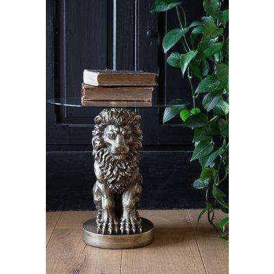 Majestic Lion Side Table With Glass Top