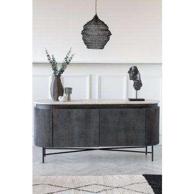Mango Wood & Marble Dark Oval Sideboard / TV Stand