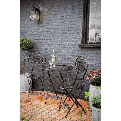 Black Metal Garden Table & Chairs Set