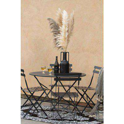 Black Metal Outdoor Table & Chair Bistro Set