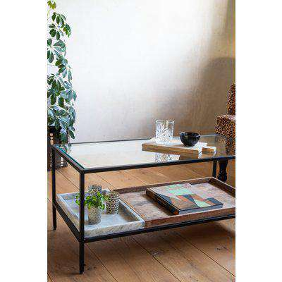 Multi-Tray Marble & Mango Wood Coffee Table