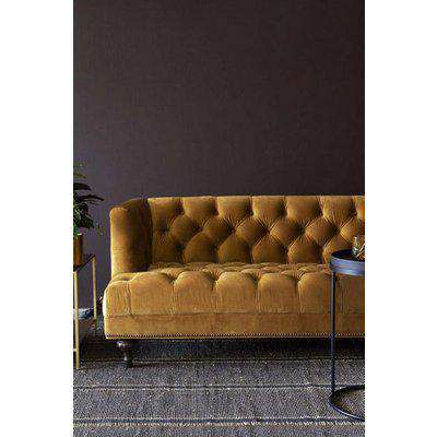 Ochre Gold Velvet Chesterfield 3 Seater Sofa