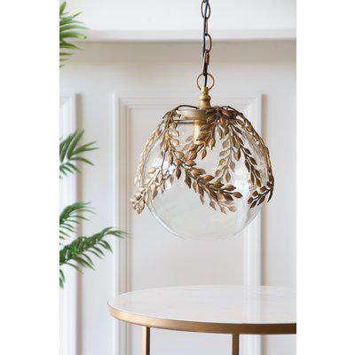Ornate Globe Pendant Ceiling Light With Brass Leaf Detailing